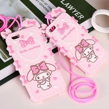 New Lovely 3D Cartoon Hello kitty My Melody Bow Pink Capa Soft Silicone Phone Cases For iPhone X 8 7 7Plus 5 5S SE 6 6S 6Plus