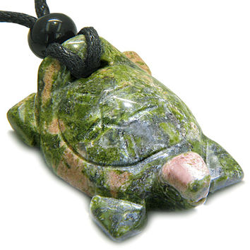 Amulet Lucky Charm Turtle Unakite Gemstone Spiritual Protection Powers Pendant Necklace
