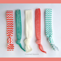 5 Elastic HAIR TIES Aqua and Coral Chevron and by CrownedPeacock