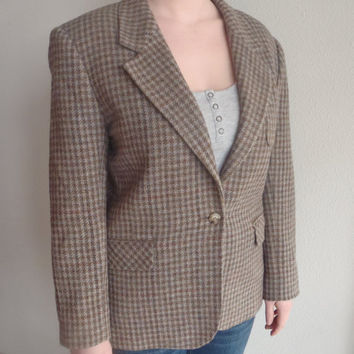 80s Wool Blazer/ Jacket/ Coat/ Talbots by Herman Geist/ Gray Brown Blue Houndstooth Blazer/  Vintage Womens Clothing by Feisty Farmers Wife