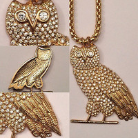 """LARGE 2"""" GOLD PLATED OWL PENDANT W/ 28"""" CHAIN!!! DRIZZY DRAKE OVO OVOXO TOPSZN"""