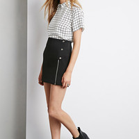 Zippered Snap-Button Mini Skirt