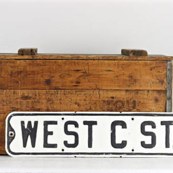 Street Sign, Vintage Street Sign, Metal Street Sign, Old Street Sign, West C St. White And Black Street Sign, Rustic Decor, Industrial Decor
