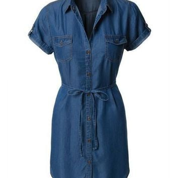 SS Tie Waist Denim Shirt Dress