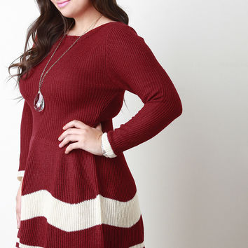 Stripe Knit Long Sleeves Fit And Flare Sweater Dress