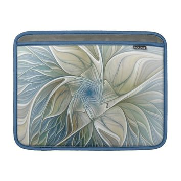 Floral Dream Pattern Abstract Blue Khaki Fractal Sleeve For MacBook Air