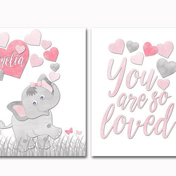 Grey pink elephant nursery name art baby girl room hearts wall decor you are so loved poster shower decoration toddler artwork kids gift