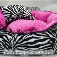 Luxury White Zebra with Pink Dog Bed- Beds, Blankets & Furniture - Bolster Style Beds Posh Puppy Boutique