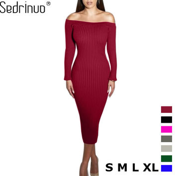 Long Sleeve Off Shoulder Slash Neck Sexy Club Women Dress Slim Bodycon Knitted Sweater Knee-Length Party Night Dresses