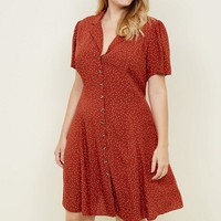 Curves Rust Spot Print Collared Tea Dress | New Look