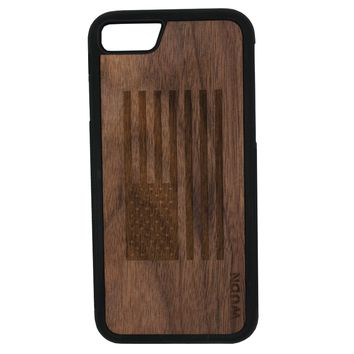 Slim Wooden Phone Case (Black Walnut) | American Flag
