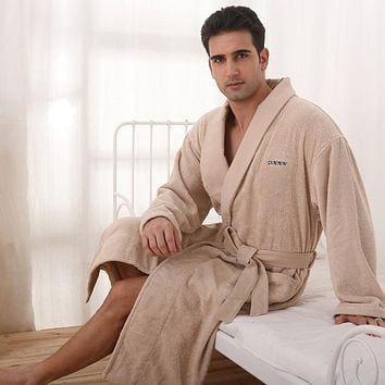 Men bathrobe cotton XL winter blanket towel fleece long nightgown girls nightdress ladies thicken soft warm autumn