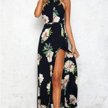 2017 Summer Off-the-shoulder Floral Printed Long Slit Maxi Dress