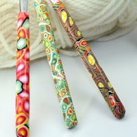 Polymer clay covered crochet hooks set of 3, Susan Bates new hooks F5, G6 and size 7, Handmade