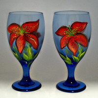 Hand painted Tropical Red Tiger Lily Water by PaintedDesignsByLona