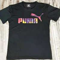 PUMA New fashion camouflage letter print couple top t-shirt Black