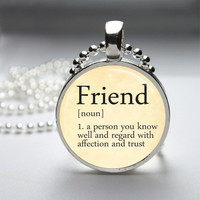 Photo Art Glass Bezel Pendant Friend Dictionary Definition Necklace