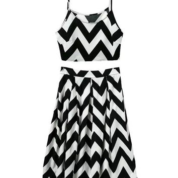 Black and White Wave Pattern Spaghetti Strap Cropped Top A-line Pleated Midi Skirt Set