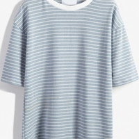 Round Neck Striped Loose Sky Blue T-Shirt -SheIn(Sheinside)