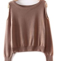 Beaded Strapless Brown Sweater$39.00