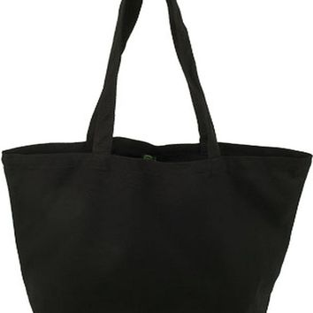 "Organic Sacks & Totes Black Canvas Tote Bag 19"" x 15 1/2"" x 7.5"" Bottom Gusset; with 27"" Handles - 1 pc,(Eco Bags)"
