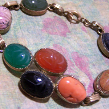 Admark Art Deco Scarab Bracelet,  12k Gold Filled. Rare Coral Cameo Stone, Vintage Jewellery, Lapis, Chrysoprase, Carnelian,  Unakite 317