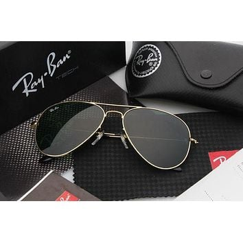 CREYON1 Ray Ban Aviator Sunglass Gold Dark Green Mirrored RB 3025