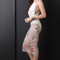 Floral Embroidered Mesh Combo Bodysuit Dress