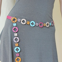 New Summer Collection / Statement Jewelry, Multi-Colored  Leather  Necklace - Belt  / Made To Order