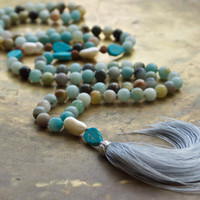 Pale blue bohemian necklace Amazonite long mala necklace Beach brown and blue boho Neutral color necklace Country chic Shabby style jewelry