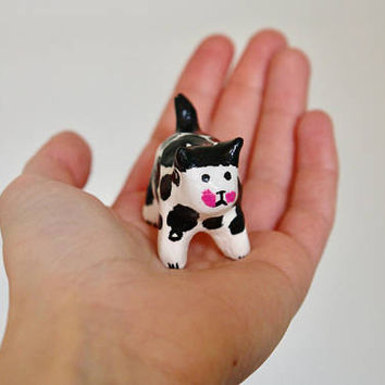 "Disco cat collection ""Mini black_white cat 2"" , painted clay sculpture"