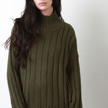 Bell Cuff Sleeve Ribbed Knit Sweater | UrbanOG