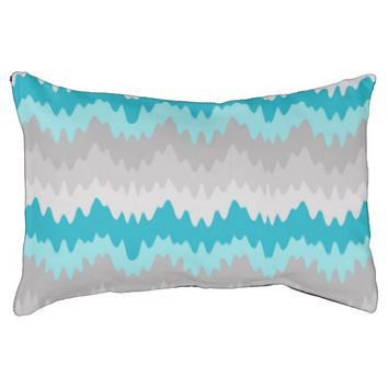 Teal Turquoise Blue Grey Gray Chevron Ombre Fade Small Dog Bed