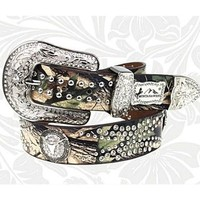 "Western Montana West Camo Steer Head Longhorn Rhinestone Leather Belt (Large (37"" - 42""))"