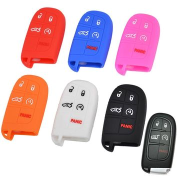Fit For Jeep Cherokee Renegade Dodge Journey Dart Durango Charger Chrysler 300c Fiat Freemont Remote Fob Case Silicone Key Cover