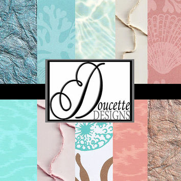 Instant Download-Coastal Beach Nautical Tropical Chic Digital Scrapbooking Paper Pack Personal and Commercial Use