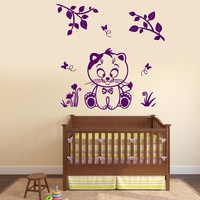 Wall Vinyl Decal Cat Kitty Nursery Kids Tree Butterfly Decor Unique Gift z3784