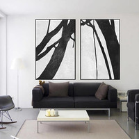 original Abstract painting large art abstract tree canvas extra Large wall art Black and White art Set of 2 pieces art canvas home decor