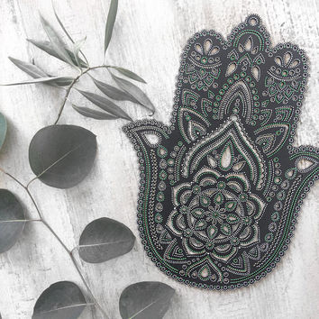 Boho Hand Painted Wooden Henna Hamsa Hand Wall Hanging (Bohemian Home Decor/Art/Interior Design).