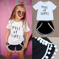 Fashion Baby Girls Summer Clothes Casual Tops T-shirt+Pants 2pcs Outfits Set