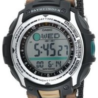 """Casio Men's PAS400B-5V """"Pathfinder"""" Resin Fishing Watch With Brown Canvas Band"""