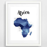 Navy Africa map, printable maps, map of Africa, geometric art, african art, poster art, African map, nursery wall art, baby boy room decor