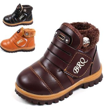 Snow boots kids 2018 new fashion winter snow boots kids brown leather thick thick plush black girls-snow-boots boys snow boots