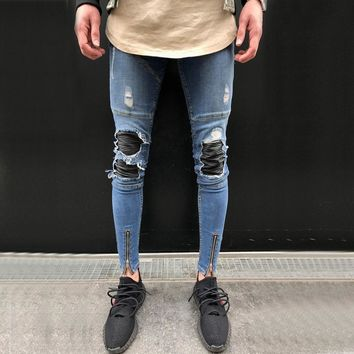 Helisopus punk style Distressed men's jeans Mens Slim Denim Straight Biker Skinny Jeans Streetwear locomotive Ripped Jeans Homme