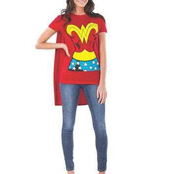 DC Fictional Superhero Comics Wonder Woman Cosplay Costume T Shirt With Cape And Headband