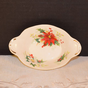 Royal Albert Poinsettia Sweet Meat Dish Vintage Close Handle Oval Bowl Christmas Serving ware Holiday Tableware Christmas English China