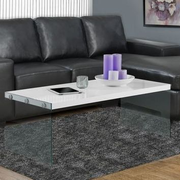 Glossy White Hollow-Core / Tempered Glass Cocktail Table
