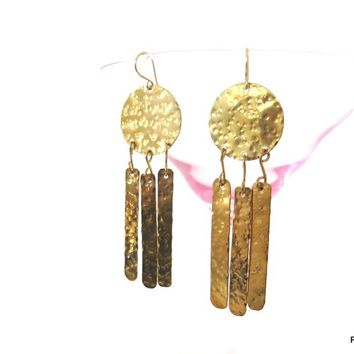 Tribal Fringe Earrings, Hammered Geometric Long Earrings