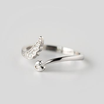 Angel wings 925 sterling silver opening ring