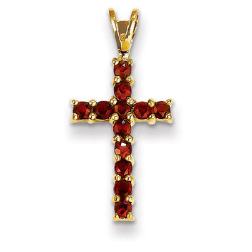 14k Garnet Cross Pendant XR878